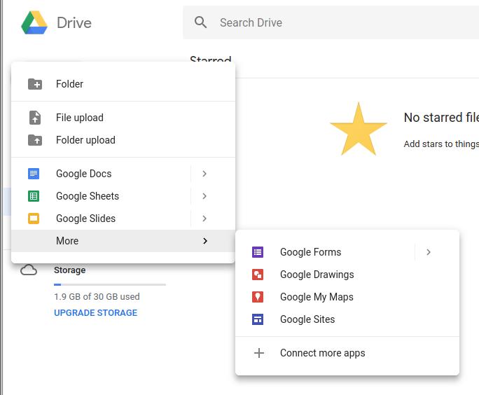 Google Drive - More Menu