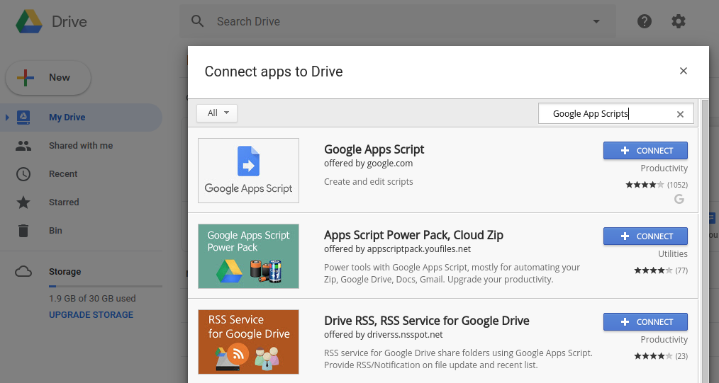 Connect Google Apps Script to Google Drive