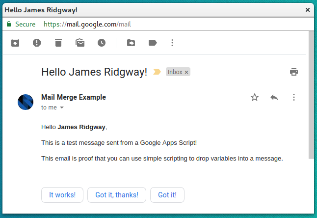 Basic Mail Merge - Email Result