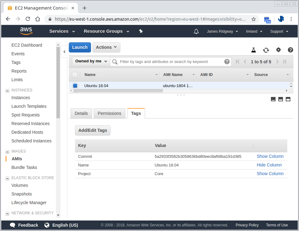 AWS EC2 AMI image tagged with the git commit that it was built from