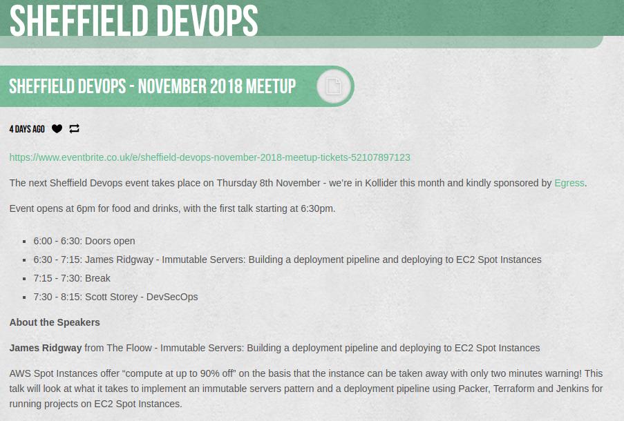 Sheffield Devops - November 2018 Meetup