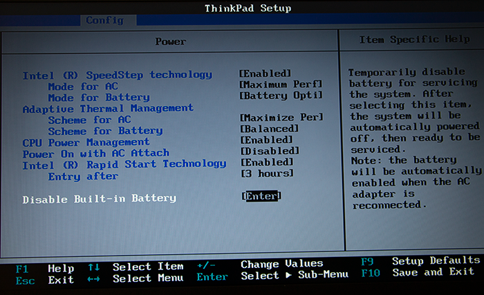 ThinkPad T450s - Disable Internal Battery